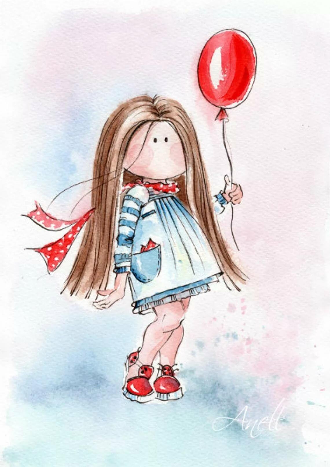 Открытка девочка с шарами