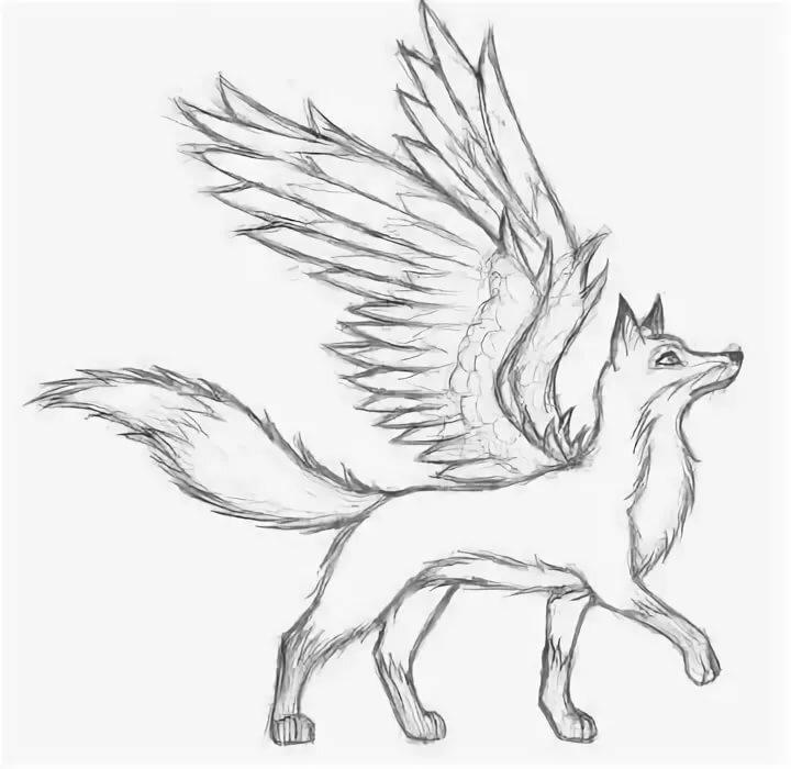 Картинки для срисовки волка с крыльями