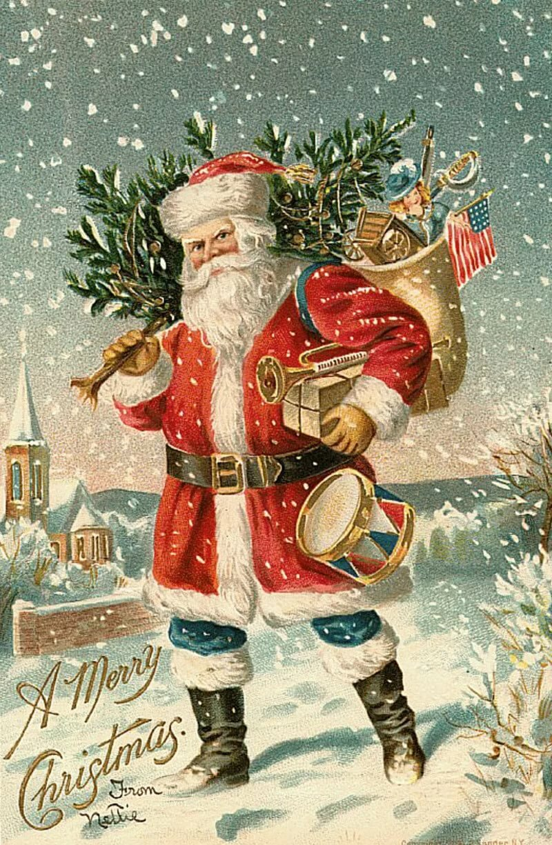 Новогодние открытки с санта клаус, февраля папе