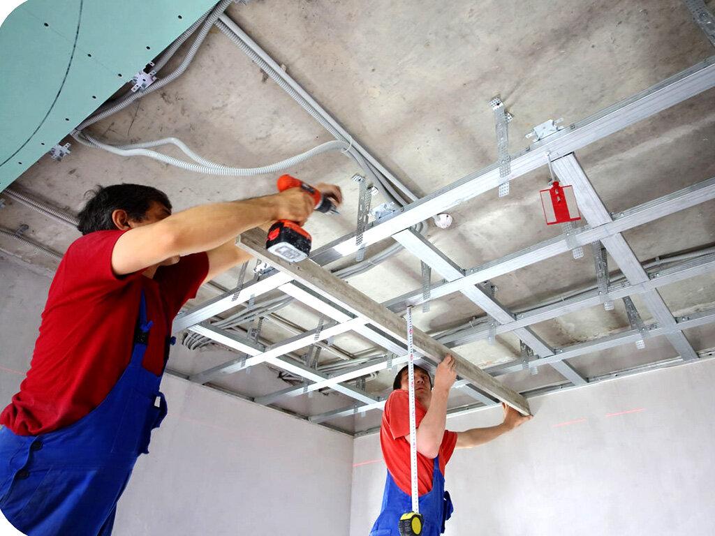 установка гипсокартонного потолка цена