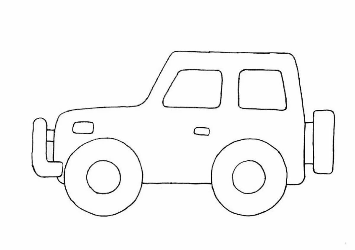 картинки для рисования детям распечатать машины для малышей комнаты