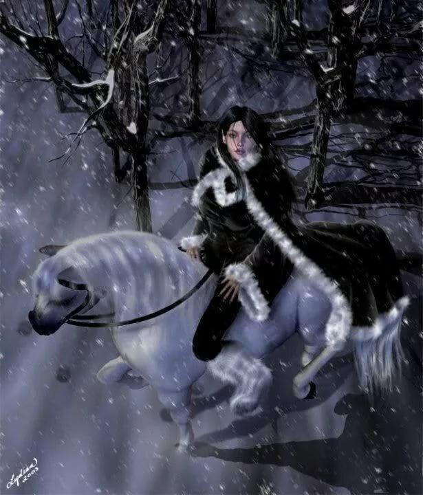 Картона, девушка на лошади анимации