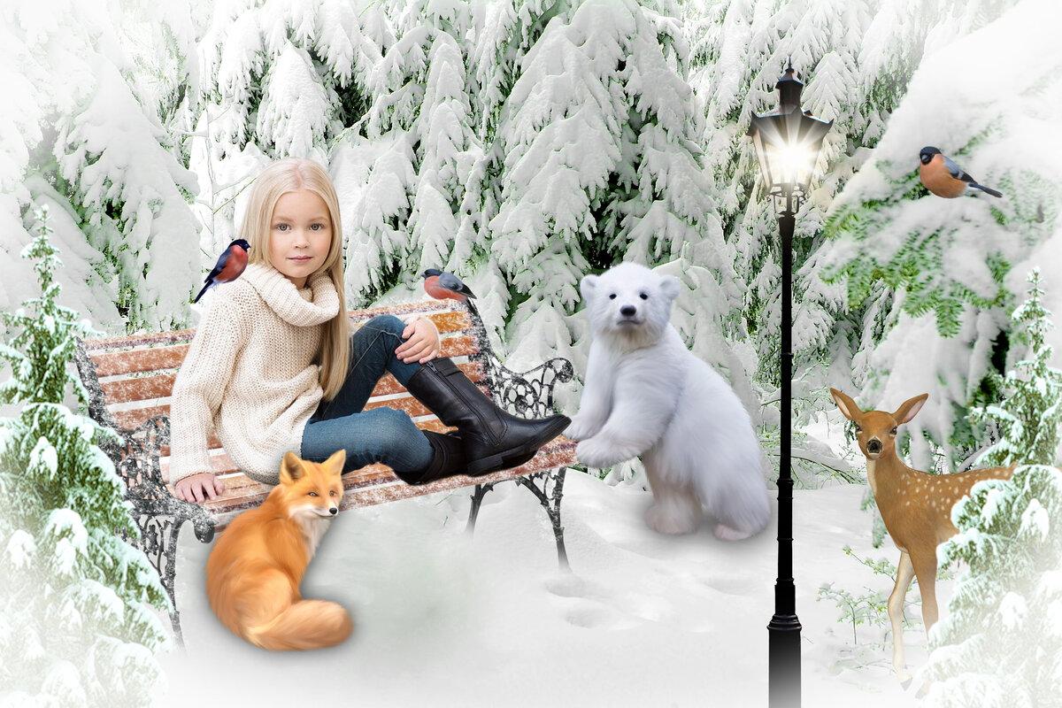 жуткий персонаж зимняя сказка фотошаблон это