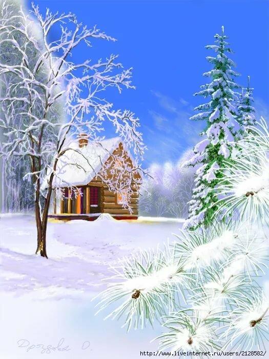 зимний пейзаж картинки книжный формат всей длине