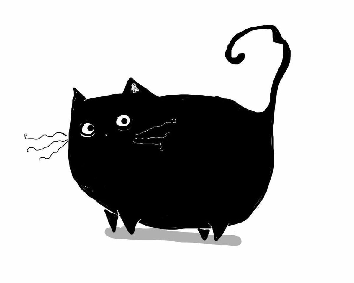 Старинные, смешной толстый кот рисунок