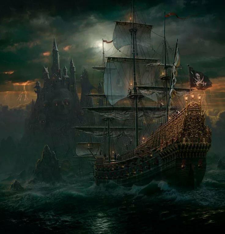 Картинки корабль в море фэнтези