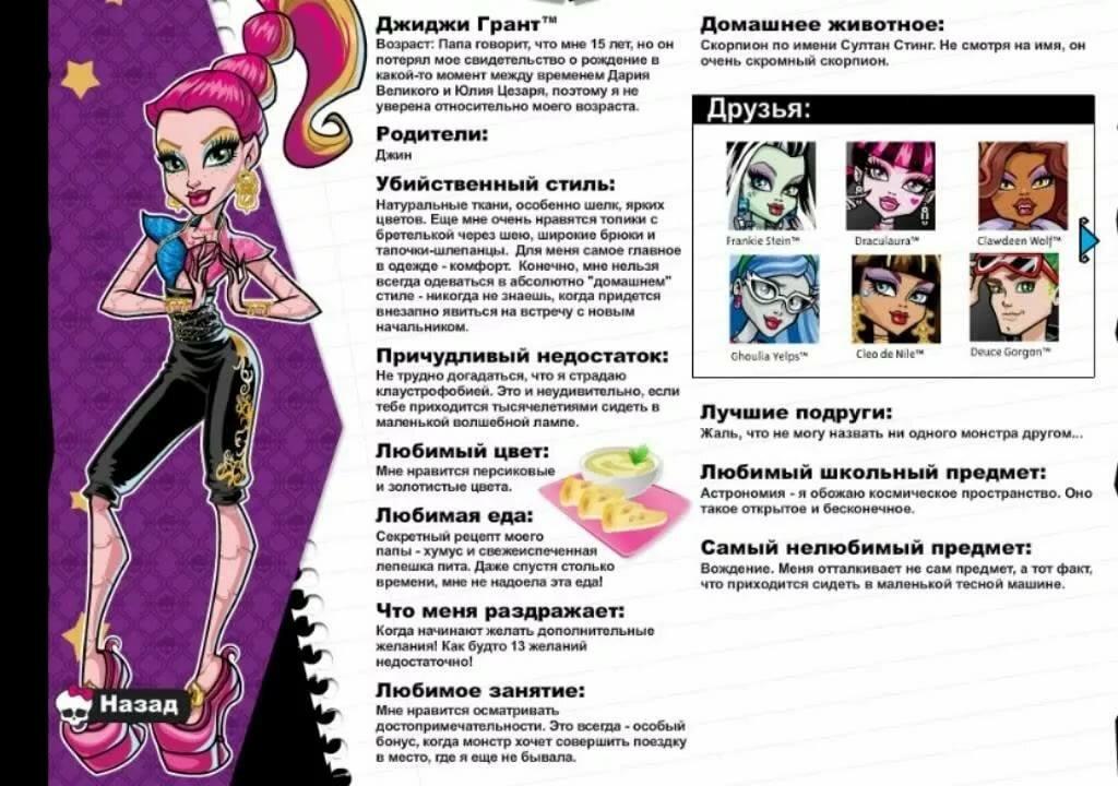 Все имена монстров хай с картинками на русском мдф