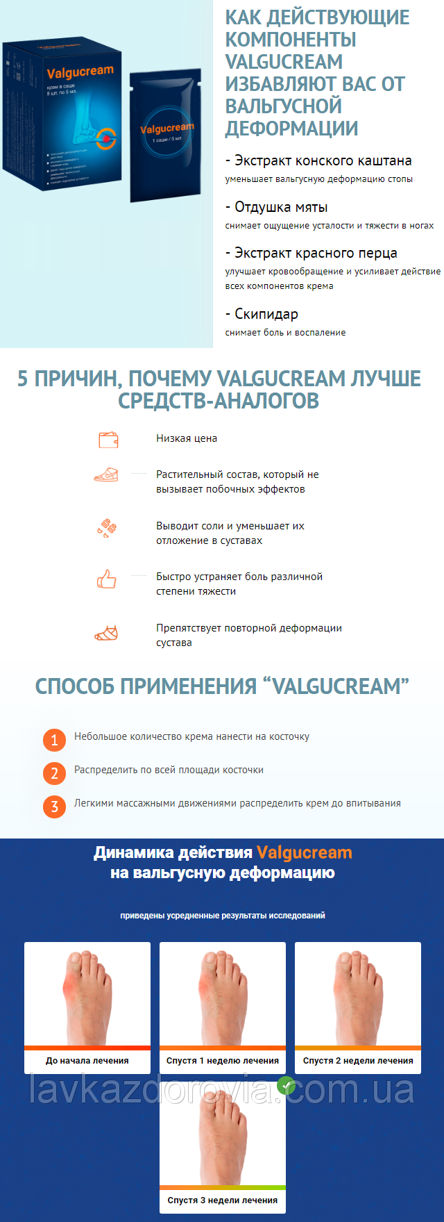 Valgucream - крем от вальгусной деформации в Киселёвске