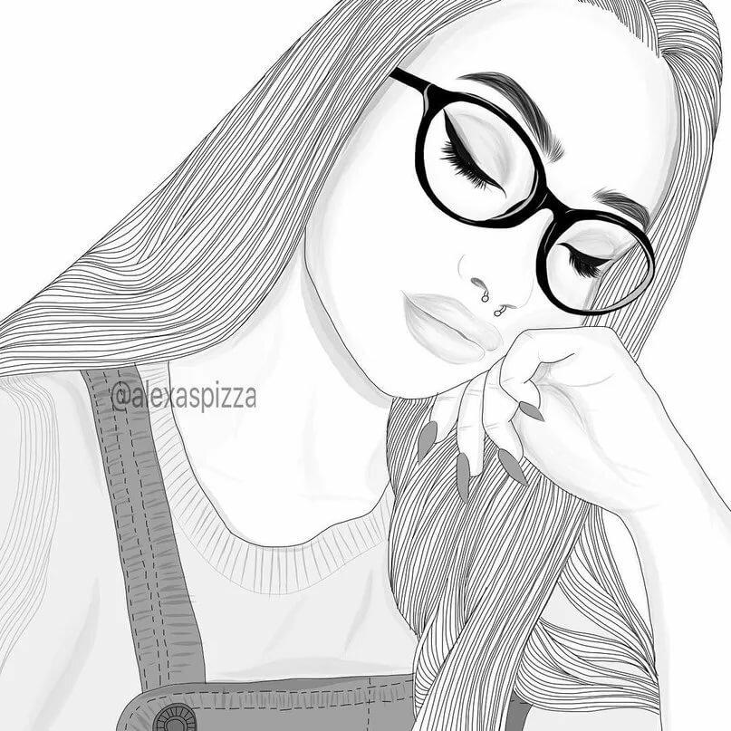 Рисунки девушек в очках для срисовки