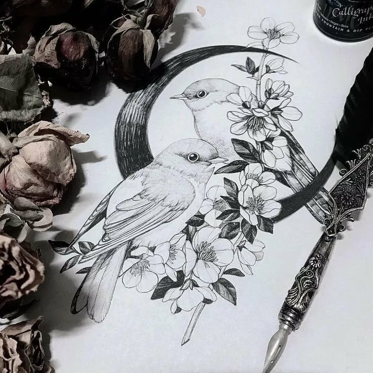 птицы на цветах эскиз тату узнаем причинах