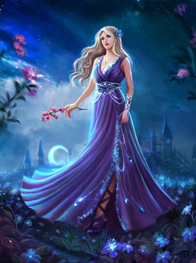 Картинка девушка в сиреневом фэнтези