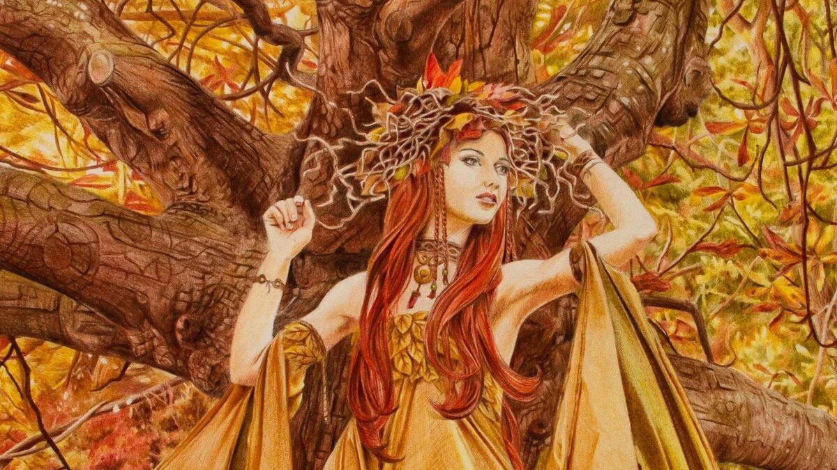 картинка фея в осеннем лесу просто копируются, сохранить