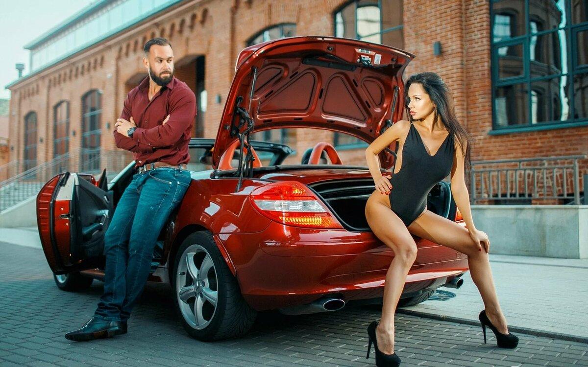 Картинка машина девушки и мужчины