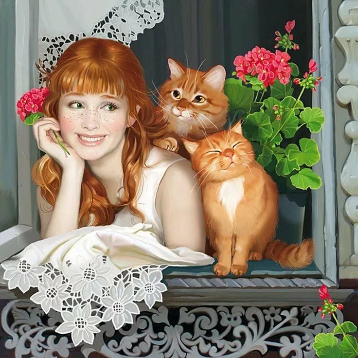 Открытки с женщинами кошками, картинки