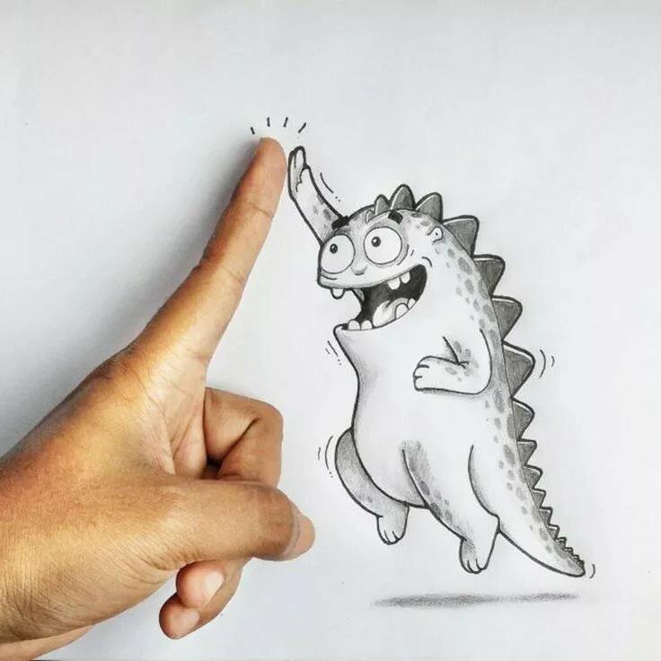 Прикольные креативные картинки для срисовки, анимации кошечка