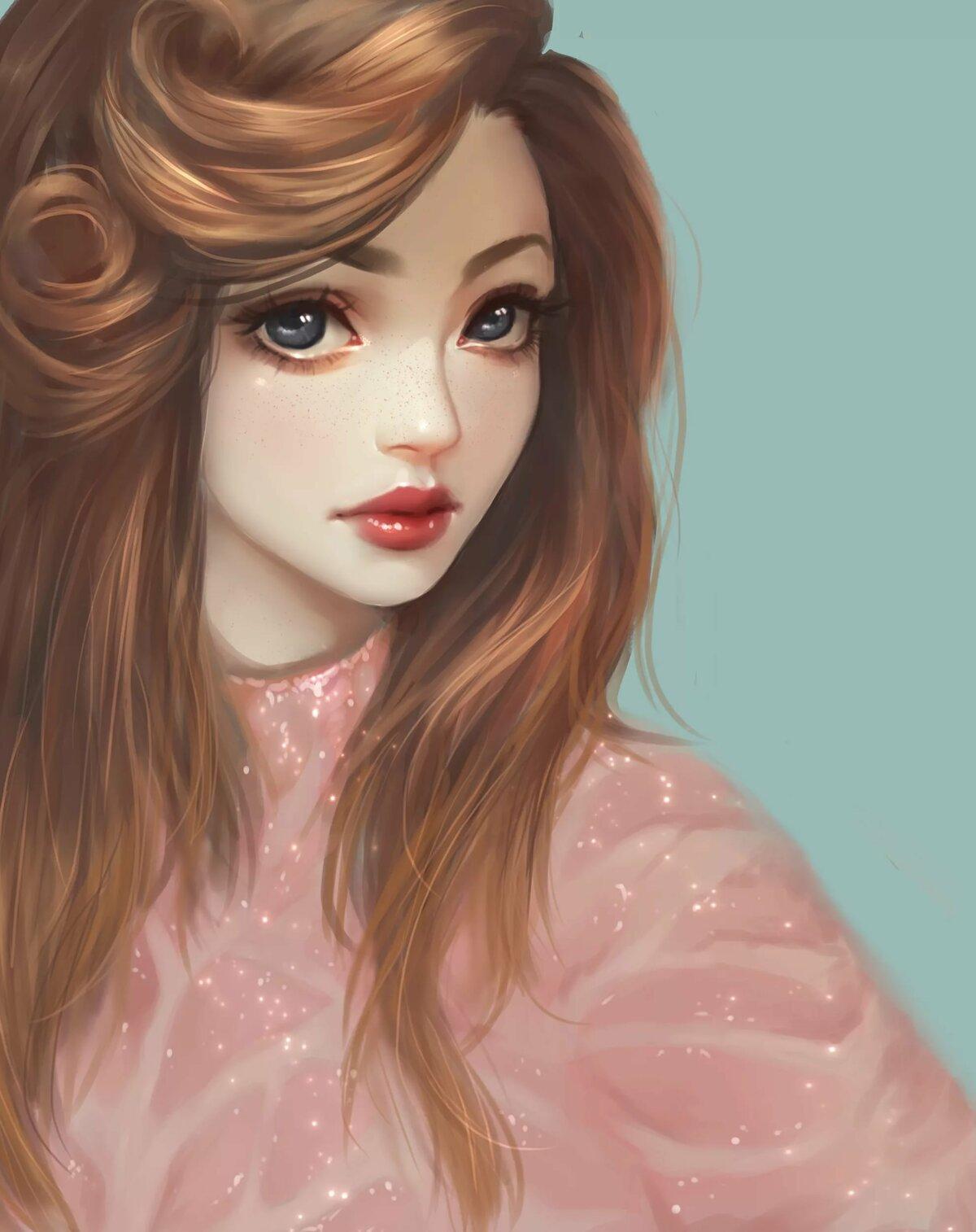 Спокойной, нарисованные картинки с девушками красивыми