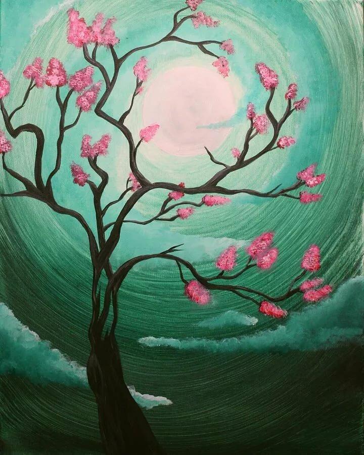 Картинки сакура в цвету нарисовать если