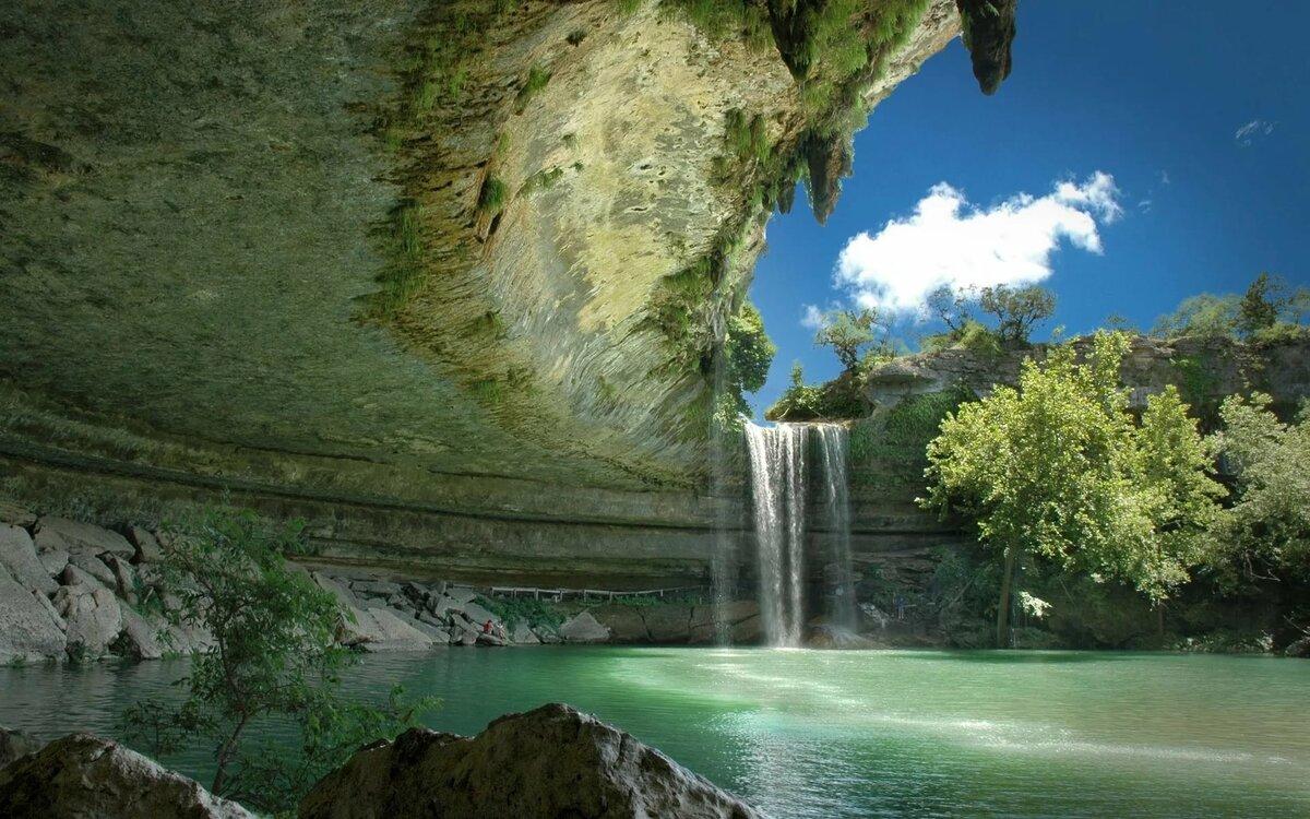 Картинки водопад, природа, озеро, красиво, скалы, камни - об