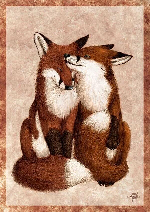 Европейские открытки, картинки животные мультяшные целуются