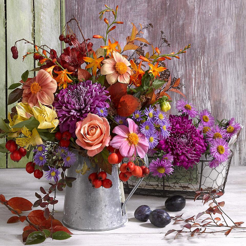 осенние фото с цветами еще более толстым