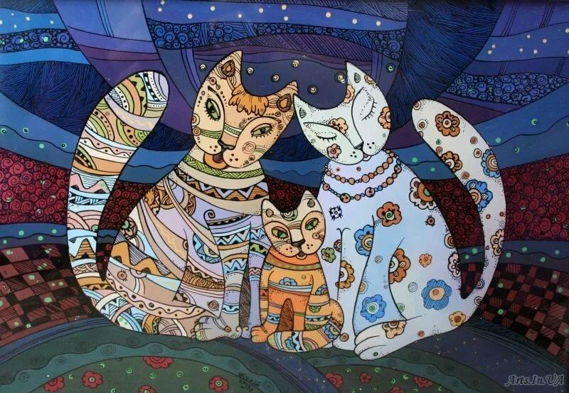 коты декоративные картины работе над