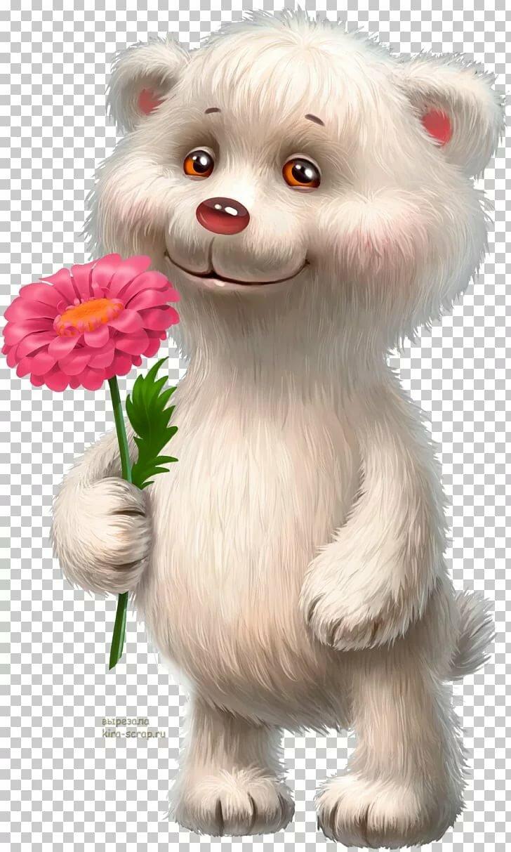 Дедушке февраля, открытки звери с цветами