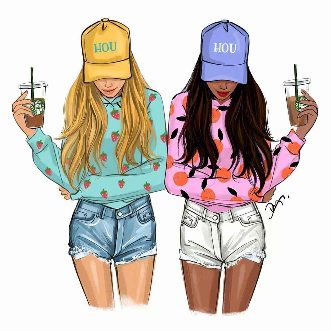 Картинки девочки две нарисованные