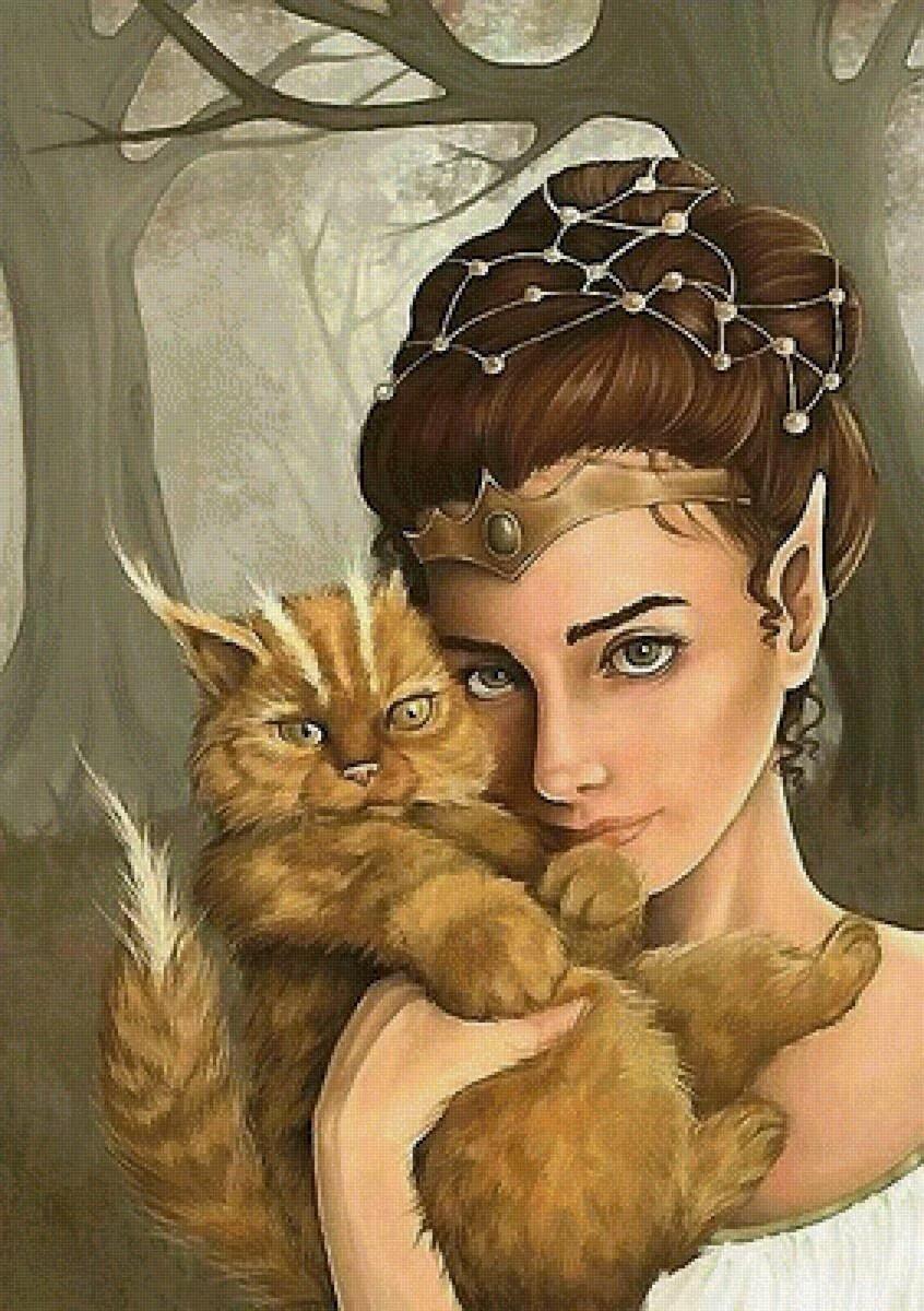 Сказочные девушки с котами картинки
