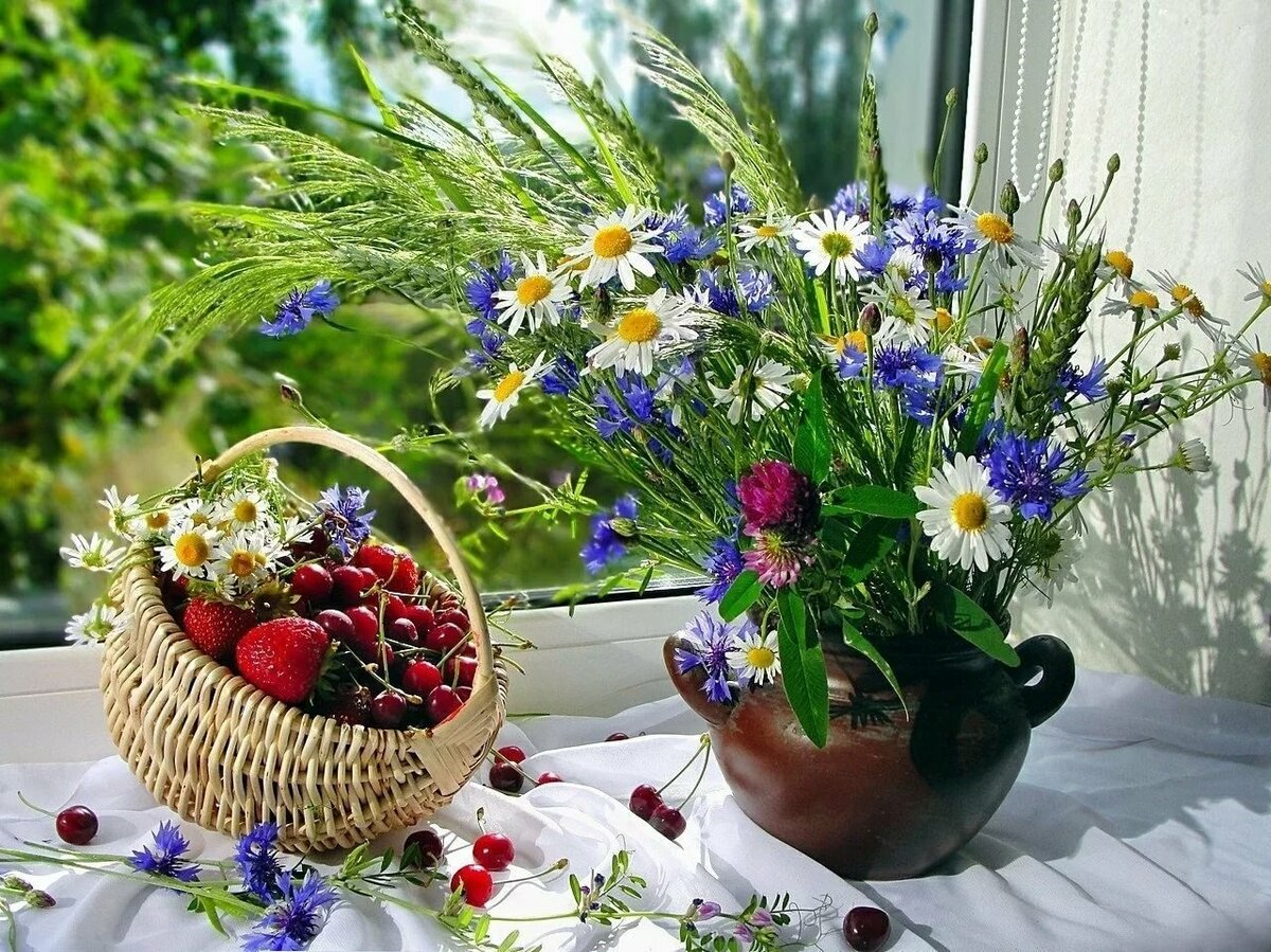 Полевые цветы в открытках