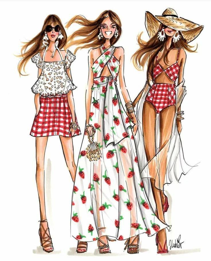 Рисунки модная одежда