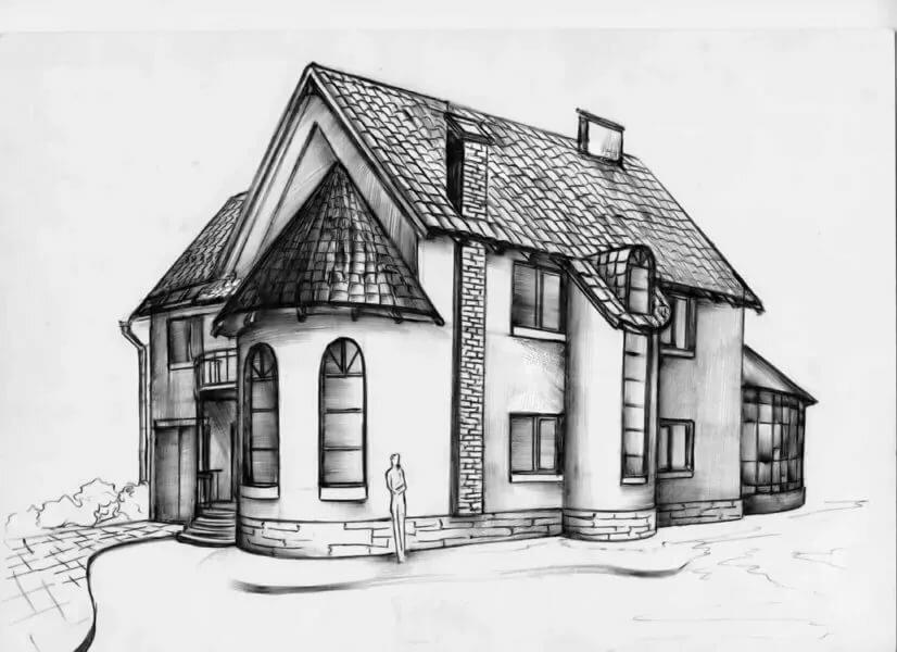 картинки рисунки дома черно белые польна