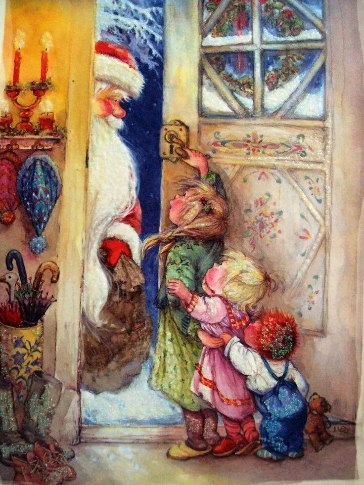 Новогодняя открытка дед мороз смотрит в окно, красной