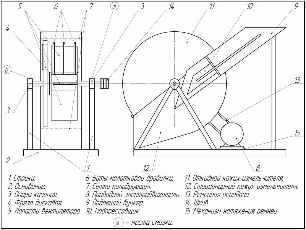 чертежи дробилки для арболита