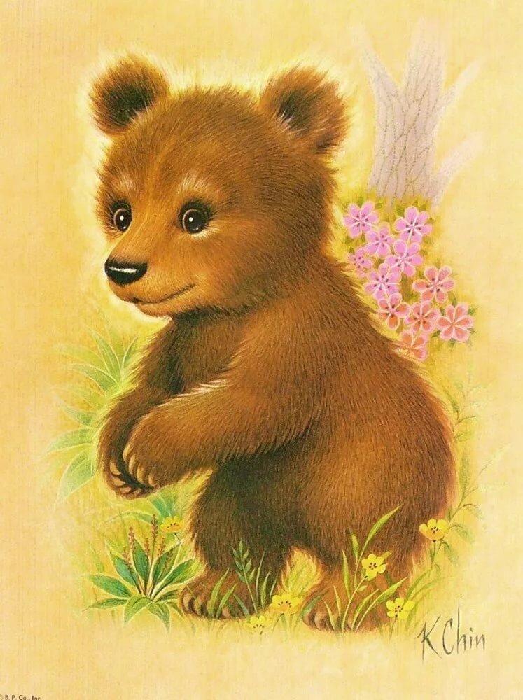 Открытки медведя рисованные