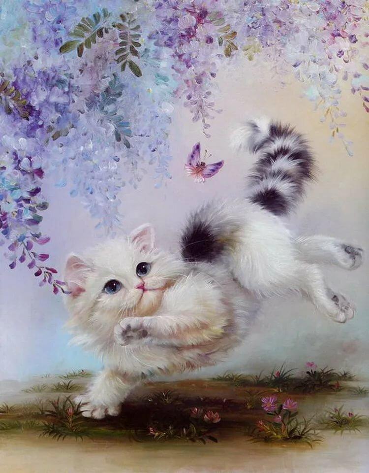 Открытка кошка с бабочками, деревенские
