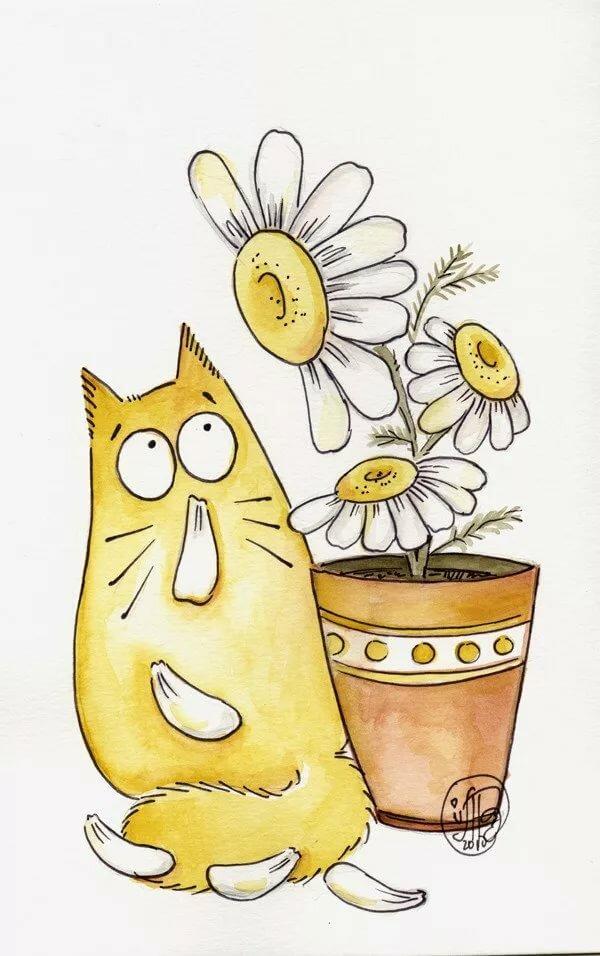 Марта весной, картинки смешные мультяшные котики