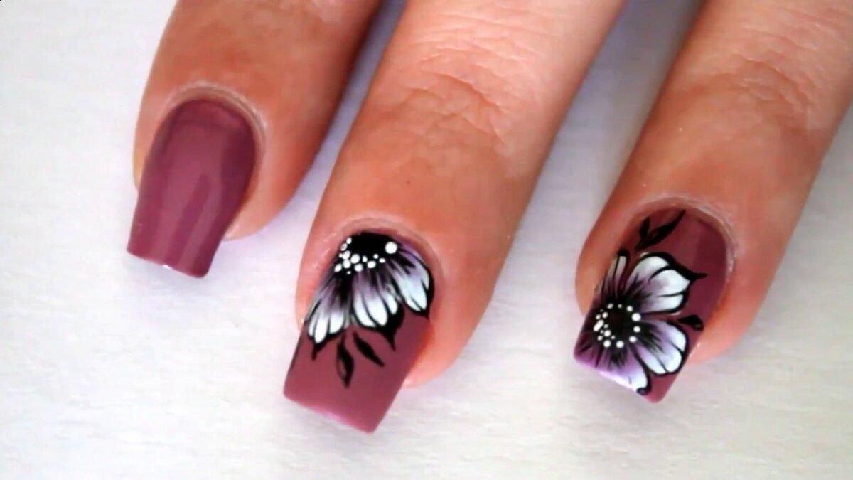 Нарисовать цветок на ногтях картинки
