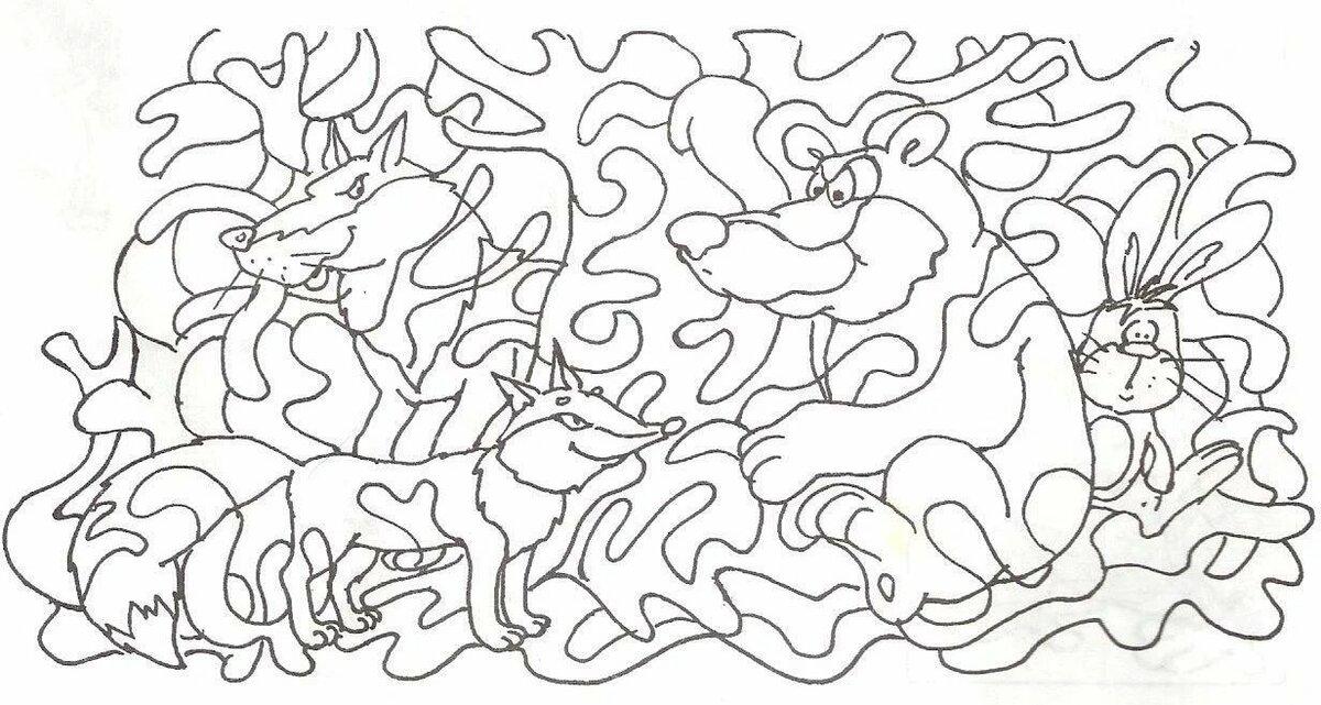 Найди на картинке животных