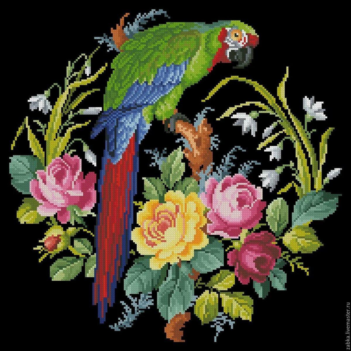 Вышивка крестом схемы старинные птицы