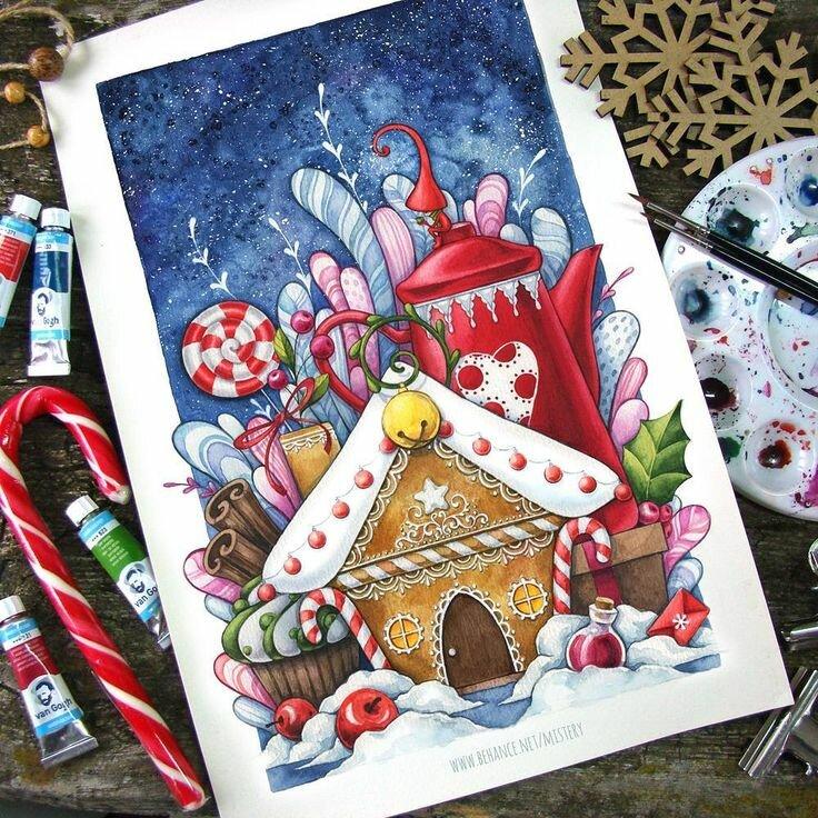Внутри новогодней открытки нарисовать символический новогодний стол