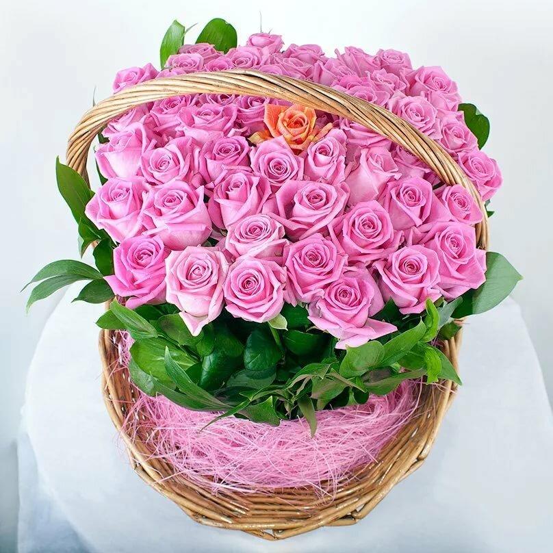 Картинки корзина цветов с днем рождения
