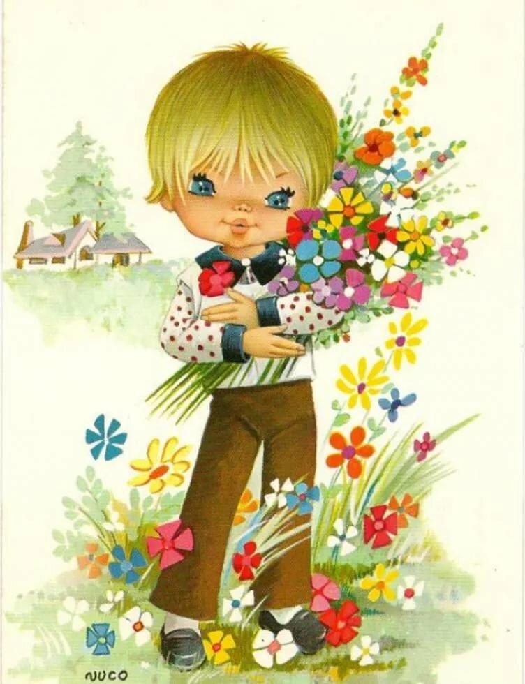 Мальчик с букетом рисунок
