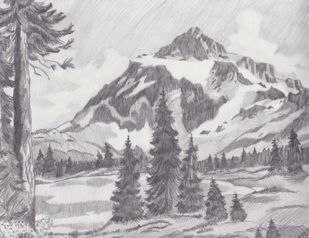 рисунки карандашом легкие и красивые пейзажи такой фаты