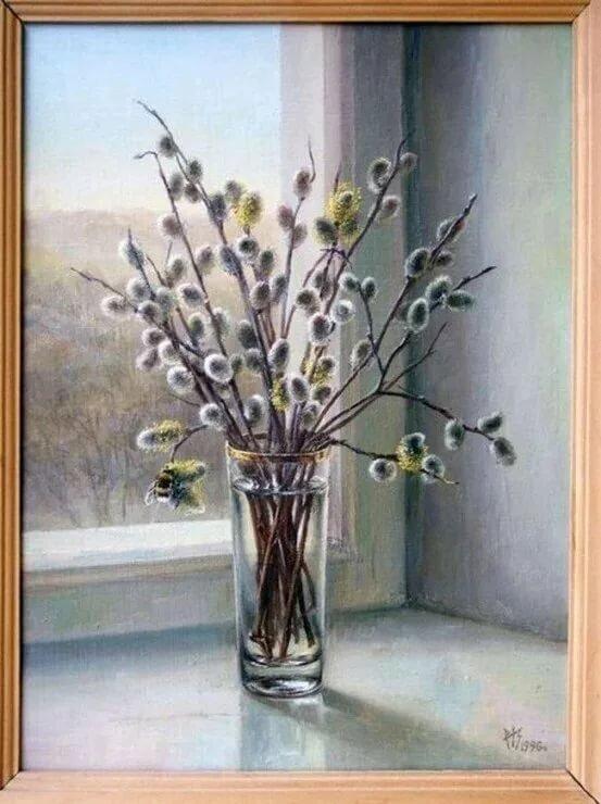 населенный картинки ветка вербы в вазе яркие, нежные цветы