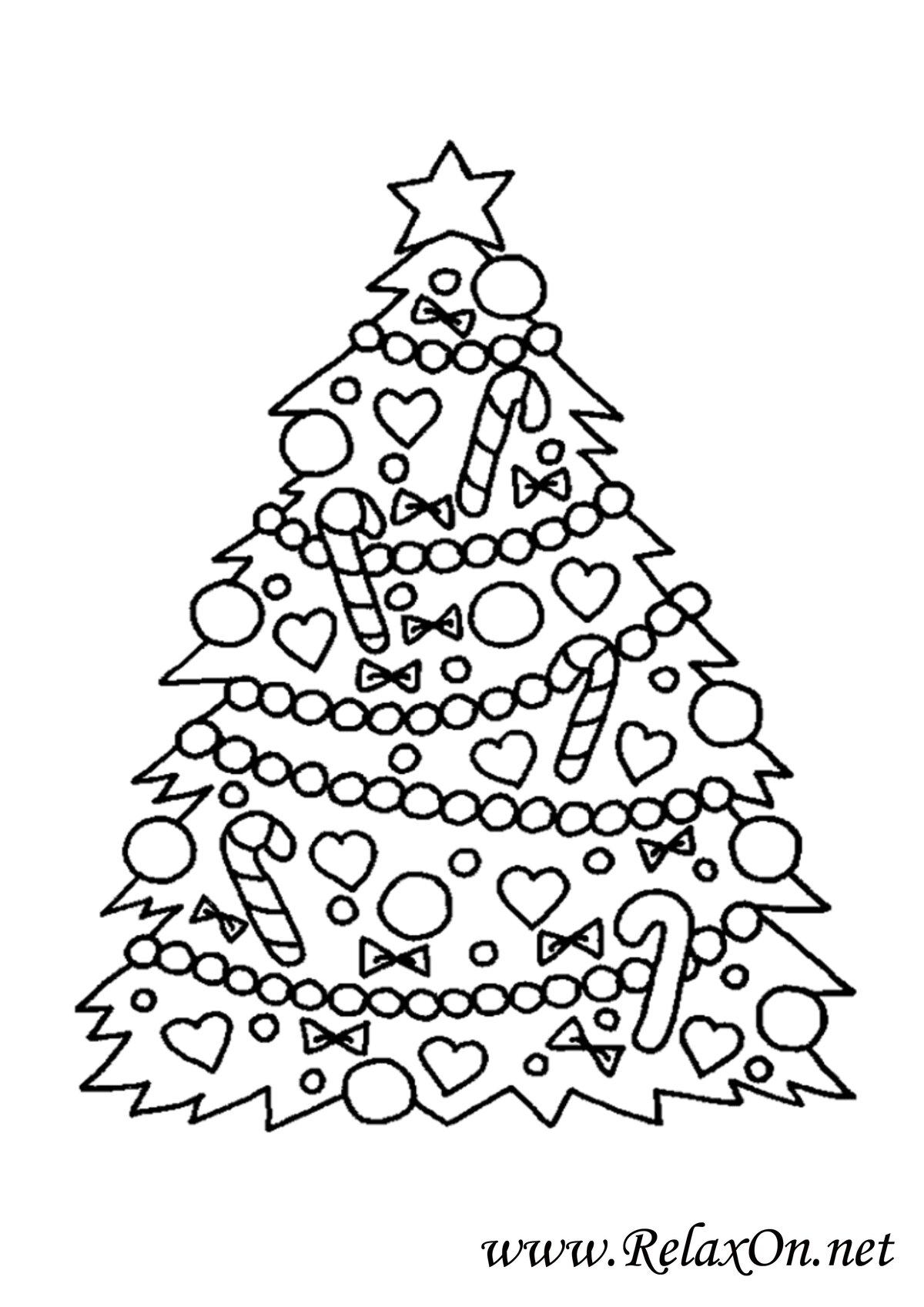 Картинка новогодняя елка раскрасить