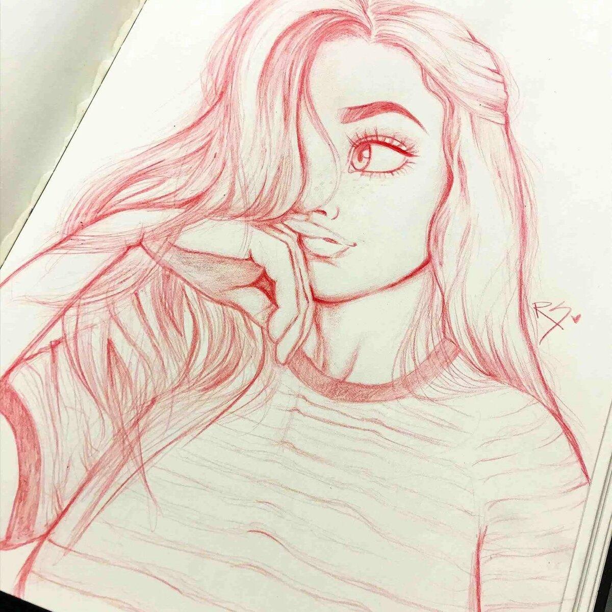 Красивые картинки рисунки для срисовки карандашом девушки