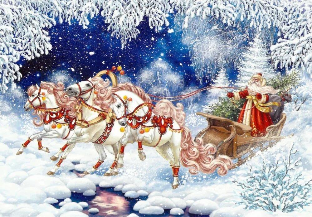 Картинки снегурочки и деда мороза на санях