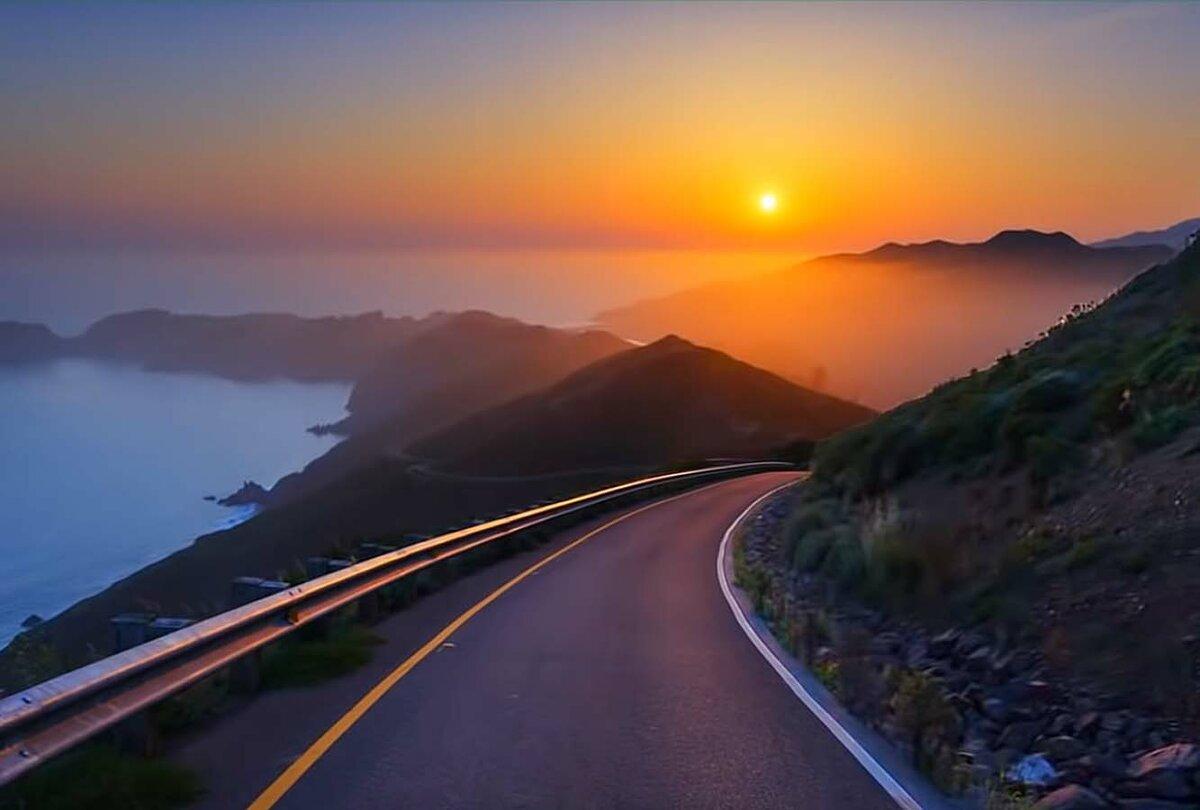 Картинка горы море дорога