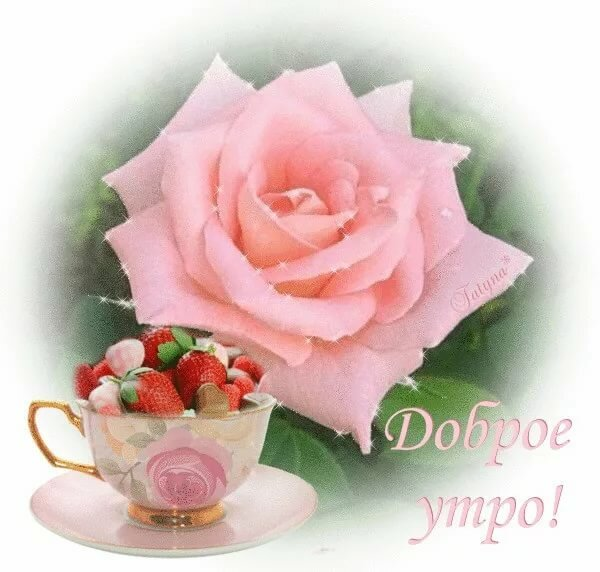 Открытки с добрым утром подругам розы