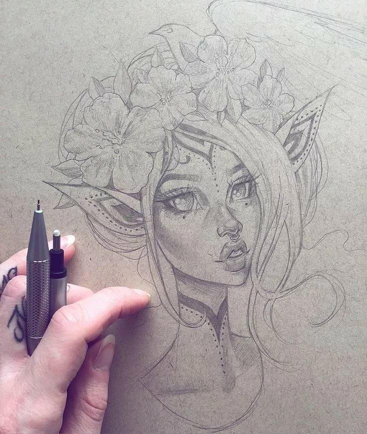 Девушки для срисовки ручкой